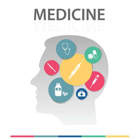 Medicine Infographics vector design. Timeline concept include medical bag, syringe, pills icons. Can be used for report, presentation, diagram, web design.