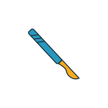 Scalpel icon set. Four elements in diferent styles from medicine icons collection. Creative scalpel icons filled, outline, colored and flat symbols. Çizim