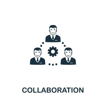 Ilustración de vector de icono de colaboración. Muestra creativa de la colección de iconos de administración de empresas. Icono de colaboración plano lleno para computadora y móvil. Símbolo, gráficos vectoriales.