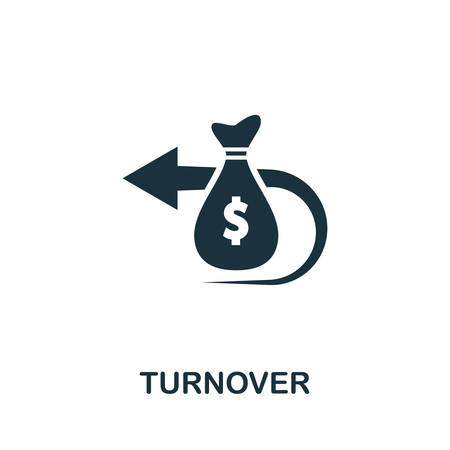 Turnover icon vector illustration. Creative sign from business administration icons collection. Filled flat Turnover icon for computer and mobile. Symbol,   vector graphics. Illusztráció