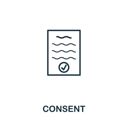 Consent icon vector illustration. Creative sign from gdpr icons collection. Filled flat Consent icon for computer and mobile. Symbol,   vector graphics.