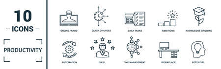 Productivity icon set. Include creative elements skill, time management, coffee break, work plan, daily tasks icons. Can be used for report, presentation, diagram, web design.