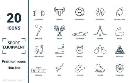 Sport Equipment icon set. Include creative elements dumbbells, soccer ball, baseball, hockey, exercise bike icons. Can be used for report, presentation, diagram, web design.