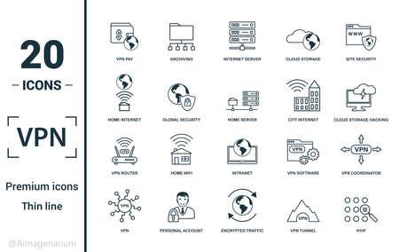 Jeu d'icônes VPN. Incluez des éléments créatifs, l'archivage, la sécurité du site, le serveur domestique, les icônes de piratage du stockage en nuage. Peut être utilisé pour le rapport, la présentation, le diagramme, la conception Web.
