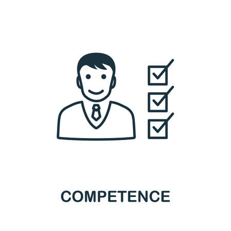 Competence icon outline style. Thin line creative Competence icon, graphic design and more.