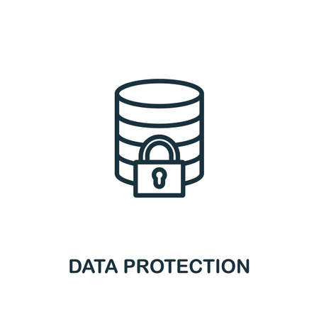 Data Protection icon outline style. Thin line creative Data Protection icon for graphic design and more.