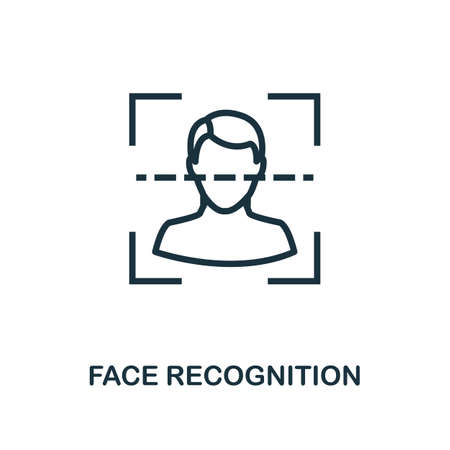 Face Recognition icon outline style. Thin line creative Face Recognition icon for graphic design and more.