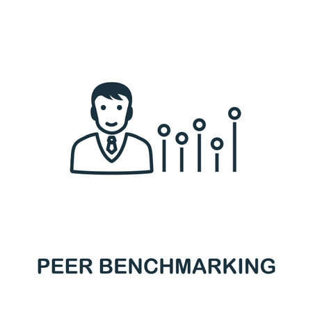 Peer Benchmarking icon outline style. Thin line creative Peer Benchmarking icon for graphic design and more. Vektorgrafik