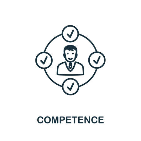 Competence icon outline style. Thin line creative Competence icon for graphic design and more.