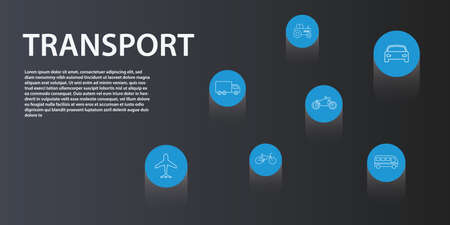 Transport Infographics vector design. Timeline concept include airplane, car, motorcycle icons. Can be used for report, presentation, diagram, web design. Illustration