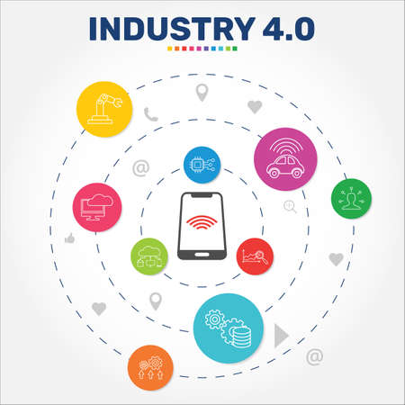 Industry 4.0 Infographics vector design. Timeline concept include automation, data management, autonomous icons. Can be used for report, presentation, diagram, web design.