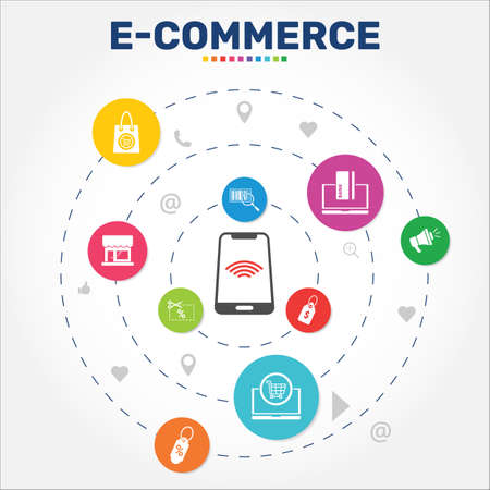 E-Commerce Infographics vector design. Timeline concept include shopping bag, marketplace, price tag icons. Can be used for report, presentation, diagram, web design.