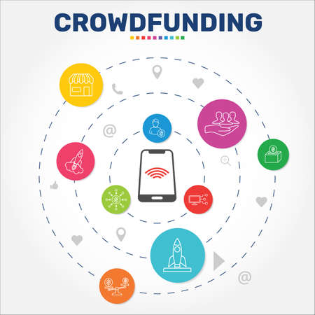 Crowdfunding Infographics vector design. Timeline concept include marketplace, crowdfunding, social participation icons. Can be used for report, presentation, diagram, web design. Ilustración de vector