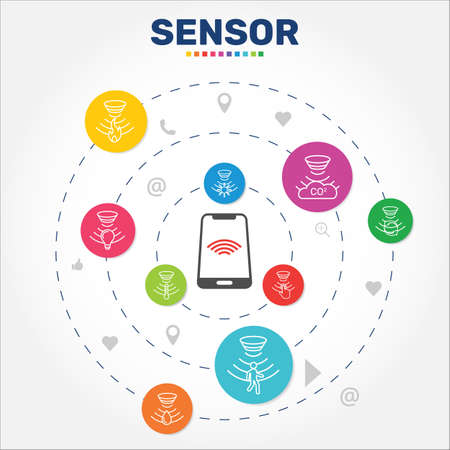 Sensor Infographics vector design. Timeline concept include flame detector, gas sensor, light sensor icons. Can be used for report, presentation, diagram, web design. Illusztráció