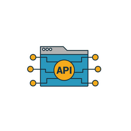 Api icon. Simple element from web development icons collection. Creative Api icon ui, ux, apps, software and infographics. 矢量图像