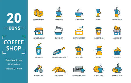 Coffe Shop icon set. Include creative elements coffee beans, cappuccino, coffee machine, coffee to go, ice coffee icons. Can be used for report, presentation, diagram, web design. 向量圖像