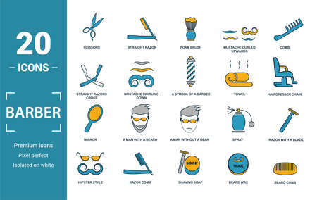 Barber Shop icon set. Include creative elements scissors, foam brush, straight razors cross, towel, mirror icons. Can be used for report, presentation, diagram, web design.