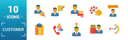 Customer Service icon set. Include creative elements agent console, case priority, satisfaction, helpdesk, knowledge base icons. Can be used for report, presentation, diagram, web design.