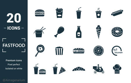 Fastfood icon set. Include creative elements burger, drink with a straw, donuts, chicken leg, delivery icons. Can be used for report, presentation, diagram, web design.