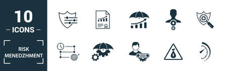 Risk Management icon set. Include creative elements risk management, risk capital, risk plan, project manager, project timeline icons. Can be used for report, presentation, diagram, web design. Illusztráció