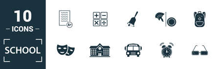 School icon set. Include creative elements school, bell, alphabet, history, art icons. Can be used for report, presentation, diagram, web design.