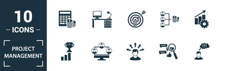 Project Management icon set. Include creative elements goal seeking, virtual team, budget, global management, team cohesion icons. Can be used for report, presentation, diagram, web design.