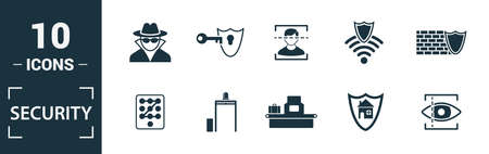Security icon set. Include creative elements security camera, deffense, lock, protection, data protection icons. Can be used for report, presentation, diagram, web design. Illusztráció
