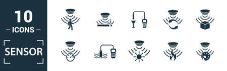 Sensor icon set. Include creative elements water quality sensor, smoke detector, gas, rain sensor, humidity sensor icons. Can be used for report, presentation, diagram, web design. Foto de archivo - 133236128