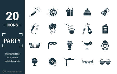 Party Icon icon set. Include creative elements flapper with confetti, gift, karaoke, champagne, harmonic icons. Can be used for report, presentation, diagram, web design. Illusztráció