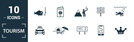 Tourism icon set. Include creative elements visa, international passport, photographing, exhibit, taxi icons. Can be used for report, presentation, diagram, web design.