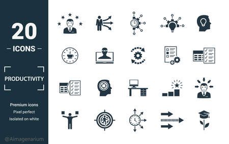 Productivity icon set. Include creative elements skill, time management, coffee break, work plan, daily tasks icons. Can be used for report, presentation, diagram, web design. Illusztráció