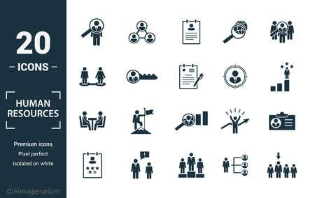 Conjunto de iconos de recursos humanos. Incluya elementos creativos de búsqueda, currículum, relación, búsqueda de cabezas, iconos de entrevistas. Puede utilizarse para informes, presentaciones, diagramas, diseño web.