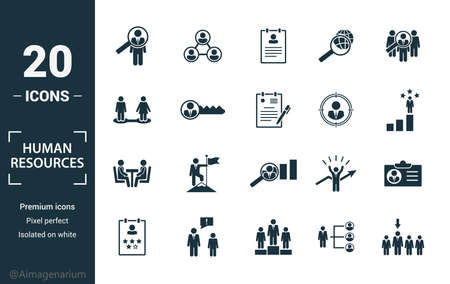 Human Resources icon set. Include creative elements searching, resume, relationship, head hunting, interview icons. Can be used for report, presentation, diagram, web design.
