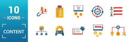 Content icon set. Include creative elements cost per click, crowdsourcing, curation, exit rate, gamification icons. Can be used for report, presentation, diagram, web design. Illusztráció