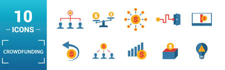 Crowdfunding icon set. Include creative elements marketplace, social participation, pre-release, rewards, funding platform icons. Can be used for report, presentation, diagram, web design.