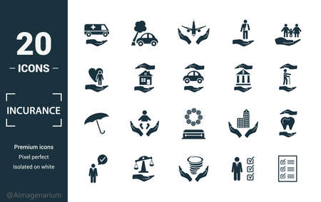 Insurance icon set. Include creative elements medical insurance, travel, life insurance, finance insurance, protection icons. Can be used for report, presentation, diagram, web design. Illusztráció