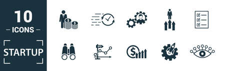 Startup icon set. Include creative elements goal, business plan, prototype, business incubator, vision icons. Can be used for report, presentation, diagram, web design. Illusztráció
