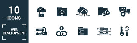 Web Development icon set. Include creative elements key search, seo, cloud storage, cloud management, network connection icons. Can be used for report, presentation, diagram, web design. Banco de Imagens - 133518454