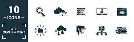 Web Development icon set. Include creative elements key search, seo, cloud storage, cloud management, network connection icons. Can be used for report, presentation, diagram, web design.