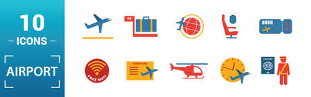 Airport icon set. Include creative elements takeoff, around the world, airport tower, airplane seat, taxi icons. Can be used for report, presentation, diagram, web design. Illustration