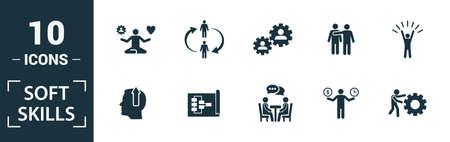 Soft Skills-Icon-Set. Enthalten Sie kreative Elemente, Teamgeist, Persönlichkeit, Eigenwerbung, Motivation, Verhandlungssymbole. Kann für Bericht, Präsentation, Diagramm, Webdesign verwendet werden.