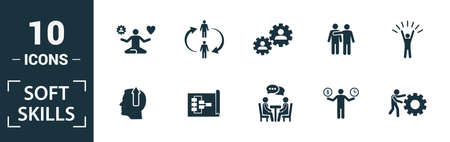 Soft Skills icon set. Include creative elements team spirit, personality, self-promotion, motivating, negotiation icons. Can be used for report, presentation, diagram, web design. Vettoriali