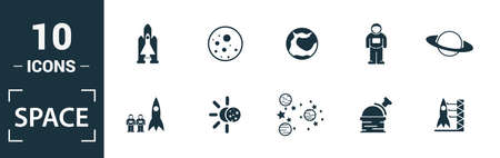 Space icon set. Include creative elements earth planet, stars, spaceship, spacemen, telescope icons. Can be used for report, presentation, diagram, web design. Illusztráció