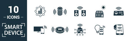 Smart Devices icon set. Include creative elements drone, smart car, smart house, solar battery roof, smart speaker icons. Can be used for report, presentation, diagram, web design.