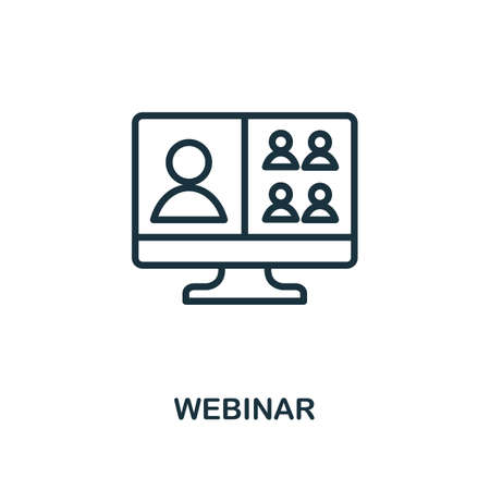 Webinar icon outline style. Thin line creative Webinar icon for    graphic design and more.