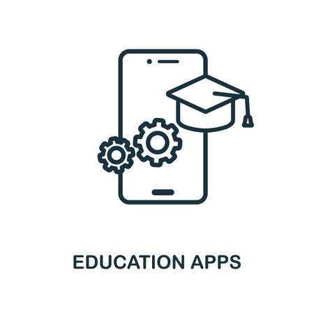 Education Apps icon outline style. Thin line creative Education Apps icon for  graphic design and more.