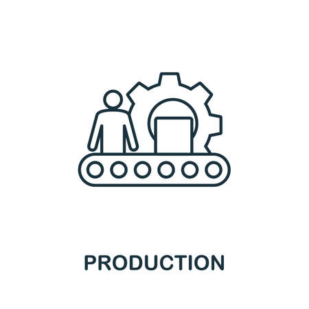 Production icon outline style. Thin line creative Production icon for  graphic design and more. Çizim