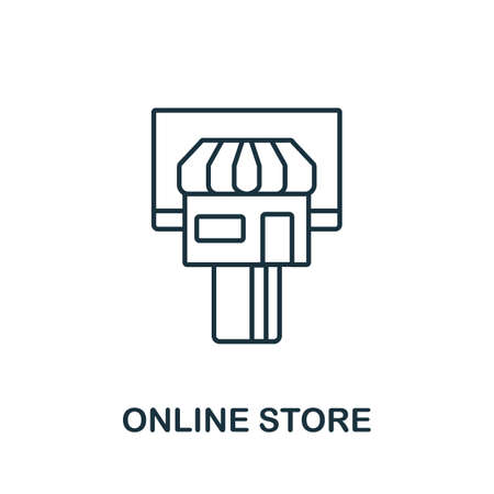 Online Store icon outline style. Thin line creative Online Store icon for graphic design and more.
