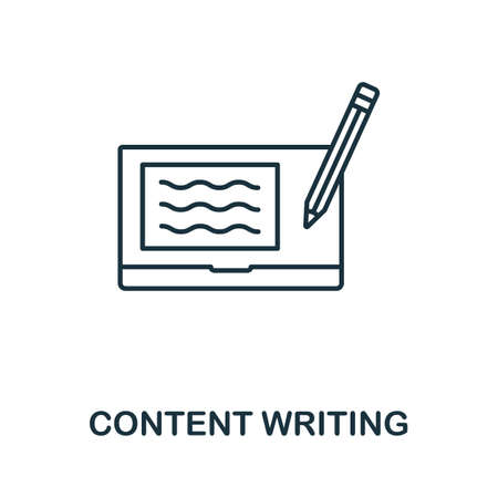 Content Writing icon outline style. Thin line creative Content Writing icon for  graphic design and more.