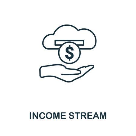 Income Stream icon outline style. Thin line creative Income Stream icon for   graphic design and more. Illustration